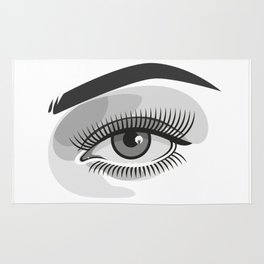Realistic eye with makeup and photographer reflection Rug