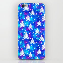 Watercolor Seamless pattern with hand drawn snowflakes and christmas tree . iPhone Skin