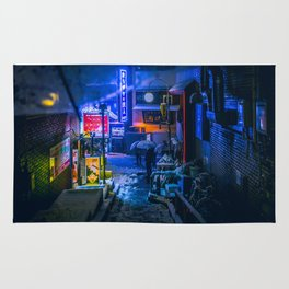 From My Umbrella - Alley at Snowy Night Rug