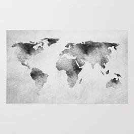 World Map - Hammered Metallic Monochrome Rug