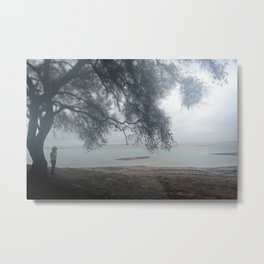 Girl In The Mist - Empty Folsom Lake Bed Metal Print