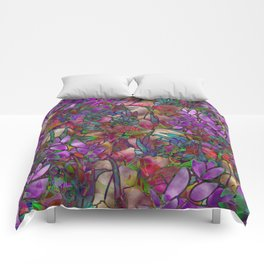 Floral Abstract Stained Glass G175 Comforters