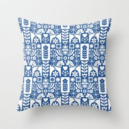 Swedish Folk Art - Blue Throw Pillow