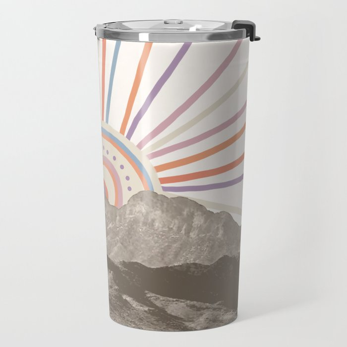 Summerlin Mountain // Abstract Vintage Mountains Summer Sun Vibe Drawing Happy Wall Hanging Travel Mug