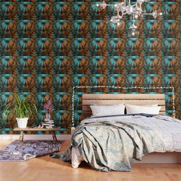 Shikoba Fractal -- Beautiful Leather, Feathers, and Turquoise Wallpaper