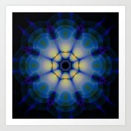 blue kaleidoscope or blue mandala Art Print