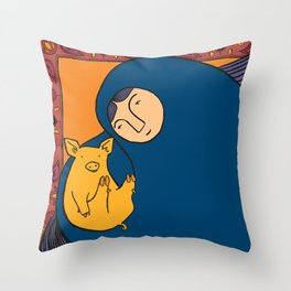 Golden Pig Throw Pillow