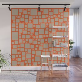 abstract cells pattern in orange and beige Wall Mural