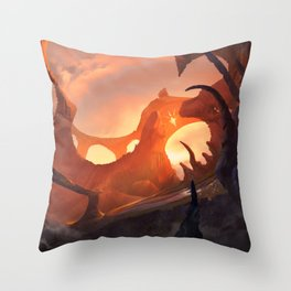 Red Landscape Throw Pillow
