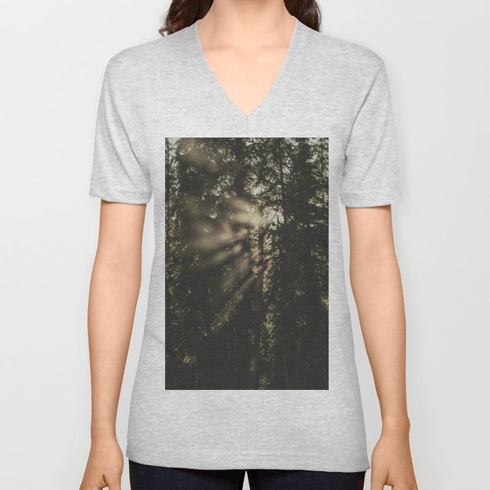 Sunset in the Woods - Nature Photography Unisex V-Neck