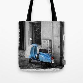 Blue Vespa in Venice Black and White Color Splash Photography Tote Bag