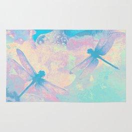 Blue Painting Dragonflies Rug