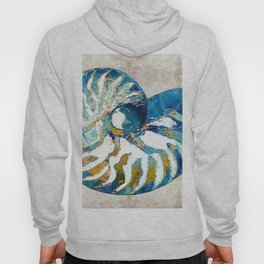 Beachy Art - Nautilus Shell Bleu - Sharon Cummings Hoody