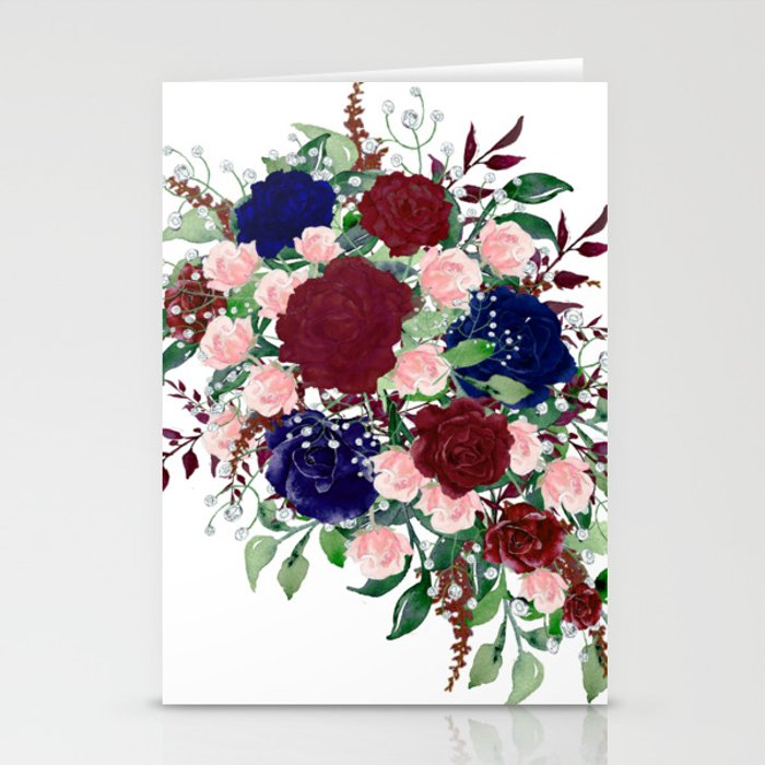Navy Burgundy Watercolor Flower Bouquet Delicate Colorful Stationery ...