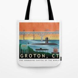 Groton, CT - Retro Submarine Travel Poster Tote Bag