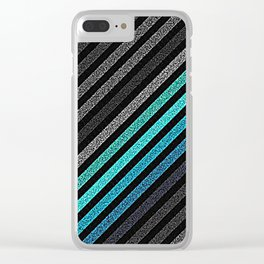 stripeS : Slate Gray Teal Blue Pixels Clear iPhone Case