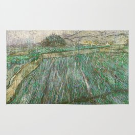 Vincent Van Gogh Wheat Field In Rain Rug