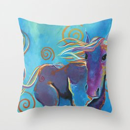 Purple Horse Throw Pillow