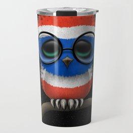 Baby Owl with Glasses and Thai Flag Travel Mug