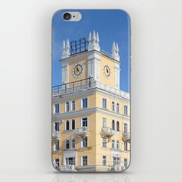 clock on the tower of the building iPhone Skin