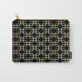 Black White and Gold Octagonal interlocking shapes Carry-All Pouch