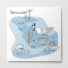 Mapping Vancouver - Blue Metal Print