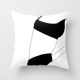 Fashion illustration line drawing - Carla Throw Pillow