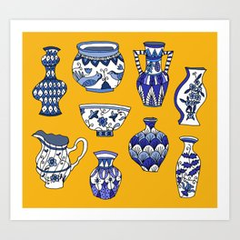 blue and white pots Art Print