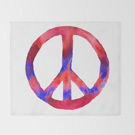 Patriotic Peace Sign Tie Dye Watercolor Throw Blanket