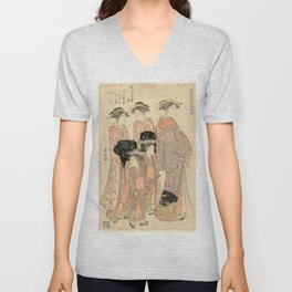 The Courtesans Maizumi Of The Daimonjiya Brothel Unisex V-Neck