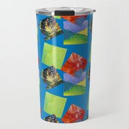 Painted Squares Jiggle - Blue Travel Mug
