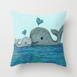 Whale Mom and Baby with Hearts in Gray and Turquoise Throw Pillow