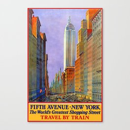 Vintage Travel Poster - Fifth Avenue, New York: The World's Greatest Shopping Street Canvas Print
