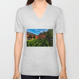 Jeep, Tractor & Barn Unisex V-Neck