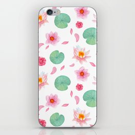 Watercolor blush pink green yellow water lilies lotus floral iPhone Skin
