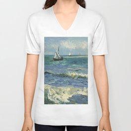 The Sea at Les Saintes-Maries-de-la-Mer by Vincent van Gogh Unisex V-Neck