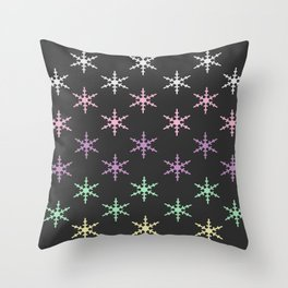 colorful snow pattern Throw Pillow