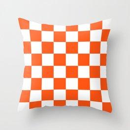 Cheerful Orange Checkerboard Throw Pillow