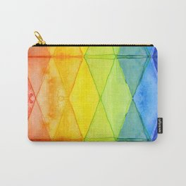 Geometric Abstract Rainbow Watercolor Pattern Carry-All Pouch