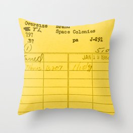 Library Card 797 Yellow Throw Pillow