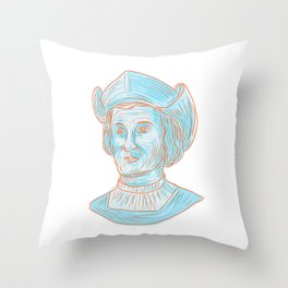 Christopher Colombus Explorer Bust Drawing Throw Pillow