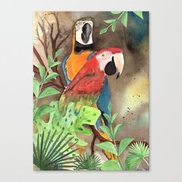 Parrot Couple with tropical leaves Watercolor Design Canvas Print