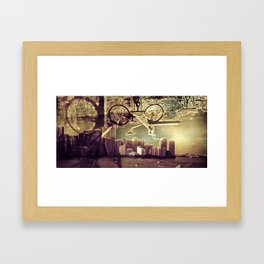 biking city Framed Art Print
