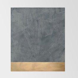 Slate Gray Stucco w Shiny Copper Metallic Trim - Faux Finishes - Rustic Glam Throw Blanket