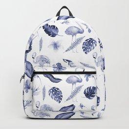 Tropical navy blue white elegant flamingo floral pattern Backpack