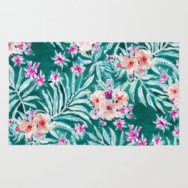 FRONDS ON FLEEK Tropical Palm Floral Rug