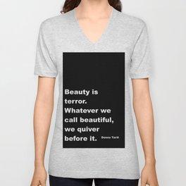 Beauty is Terror Quote Unisex V-Neck