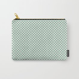 Grayed Jade and White Polka Dots Carry-All Pouch