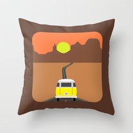 On the road (Yellow van) Throw Pillow