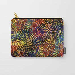 Rainbow Dotted Floral Batik Pattern Carry-All Pouch